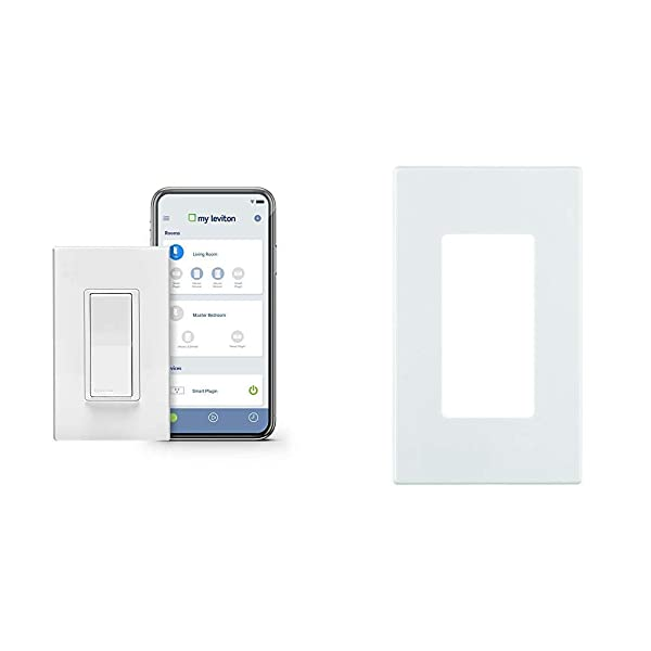 Leviton DW15S-1BZ Decora Smart Wi-Fi 15A Universal LED/Incandescent Switch, Works with Amazon Alexa, No Hub Required with Screwless Wallplates, 4-Pack (Tamaño: 4-Pack w/Wallplates)