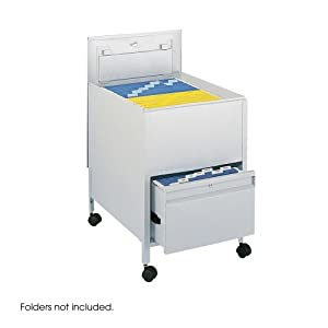 Safco Locking Mobile Tub File with Drawer, Legal Size Gray