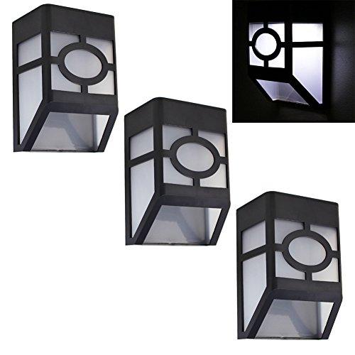De-Spark Mini Solar Stair Lamp Led Plastic Wall Porch Lights Sconces, White Light (3 Pack)