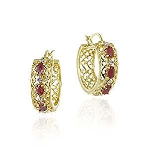 18K Gold over Sterling Silver Ruby & Diamond Accent Filigree Hoop Earrings