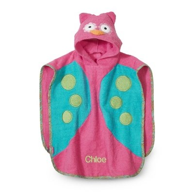 Personalized Owl Hooded Poncho front-286980