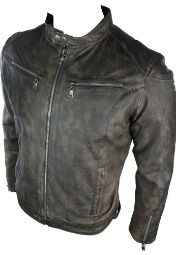 Mens Real Leather Jacket Biker Style Vintage Brown Zipped Pockets Casual Fitted Retro