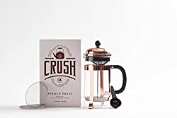 Café Crush Club French Press Classic Copper Plated Steel & Heat Resistant Glass Coffee & Tea Maker Avignon-C Stainless Plunger with Double Screens, 2 Replacements, Grounds Scoop 34oz/1000ml/8 cup Carafe Rose Gold from Cafe Crush Club