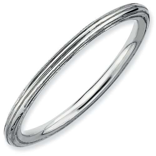 Sterling Silver Stackable Expressions Rhodium Step-down Ring (Size 6)
