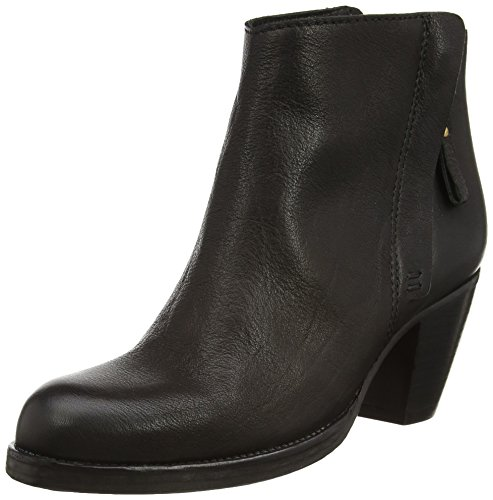 Fred de la Bretoniere Fred diagonal zip booty 10cm height leather sole vintage Stockholm model Achlum, Stivali classici imbottiti a gamba corta donna, Nero (Schwarz (Black 002)), 39