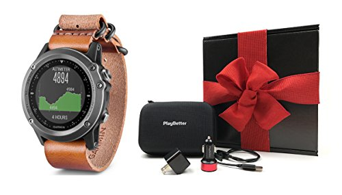 Garmin fenix 3 Sapphire (Leather Band) GIFT BOX Bundle | Includes Multi-Sport GPS Fitness Watch, PlayBetter USB Car & Wall Adapter, Charging Cable & GPS Carry Case | Black Gift Box & Red Bow