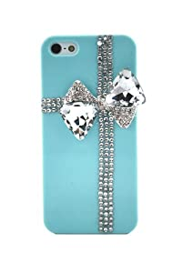 Generic Handmade Bling 3D Bow Crystal Diamond Rhinestone Light Blue Case Cover for Iphone 5