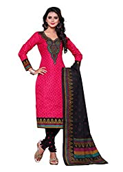 SayShopp Fashion Women's Unstitched Regular Wear Cotton Printed Salwar Suit Dress Material (ZDM-23_Pink,Black_Free Size)