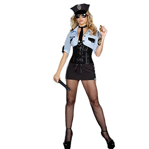 SSQUEEN Sexy Police Officer Costume Instructor Uniform Fancy Dress Outfit