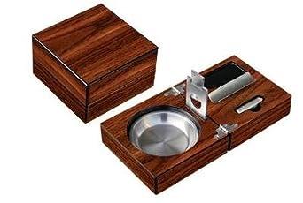 Prestige Import Group Folding Wood Cigar Ashtray w/ Cutter