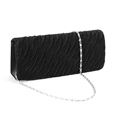 Wavy Crinkle Satin Clutch Rectangle Evening Bag Purse Women Party Bag