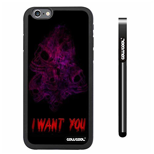 Cowcool® Apple Iphone 6 4.7 Inch Soft Silicone Multicolour Color Skull With Smoke With Black Shell Single Layer Protective Case (#5)
