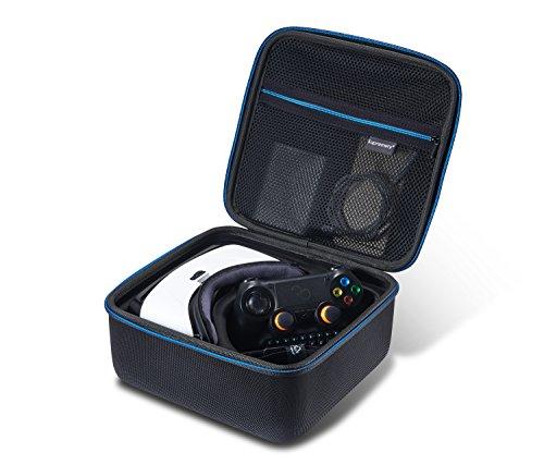 Samsung-Gear-VR-Virtual-Reality-Brille-Case-Tasche-Hlle-mit-Netztasche-Reiverschluss-und-Handgriff-Wasserabweisend-in-BlauSchwarz