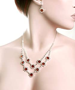 Dazzling Floral Brown & Clear Rhinestones Necklace & Earring Set