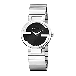 Gucci Interlocking G Collection Women's Quartz Watch with Black Dial Analogue Display and Stainless Steel Bracelet YA133511