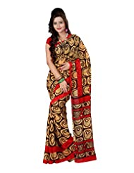 Fabdeal Indian Wear Brown Georgette Printed saree-QSISR9085AOC