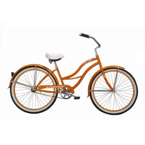 Orange Tahiti Women's Beach Cruiser Bike with 26-inch Wheels