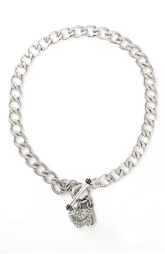 Juicy Couture Pave Heart Starter Necklace Silver-Tone