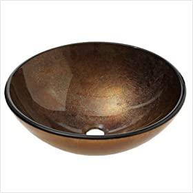 Gold and Copper Tempered Glass Vessel Sink
