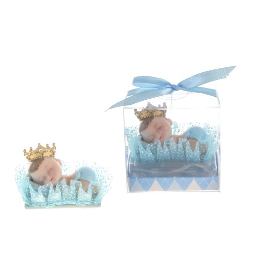 "Lunaura Baby Keepsake - Set of 12 ""Boy"" Baby Wearing Crown Napping on Pillow Favors - Blue"