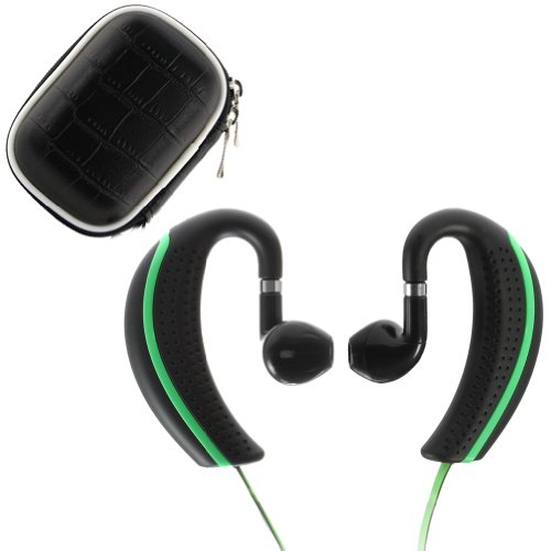 Ikross Black/ Green Nfc-Enabled Bluetooth Sport Stereo Handsfree Headset + Black Headset Eva Case For Apple Iphone 6, 5S 5C 5, 4S 4, Ipad Air, Mini, 4, 3, 2, 1 And More