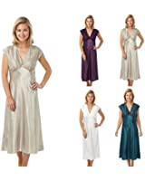 Ladies Sexy Satin Long Nightdress Teal,Purple,Ivory or Mocha Size 10/12 to 26/28