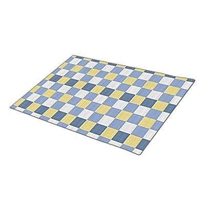 HomeTaste. Outdoor Mats Pastel Blue Teal Yellow White Checkered Pattern Inside Door Mats