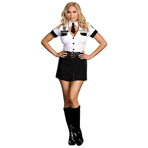 [GSG TSA Costume Sexy Female Cop Funny Police Halloween Fancy Dress] (Plus Size Dark Mad Hatter Costume)