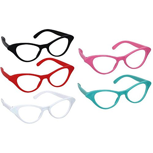 Amscan-Nifty-50s-Theme-Party-Cat-Style-Glasses-Pack-of-10-Multi-Color