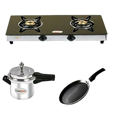 Brightflame 2 Burner Black Gas STove & Aluminium Pressure Cooker 3 Ltr & Tawa Large