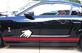 ROCKER PANEL STRIPES Side Racing Decals for FORD MUSTANGS of ALL Years - 4 Styles & 20 Colors to choose from (Style 2 :: Ice Blue)