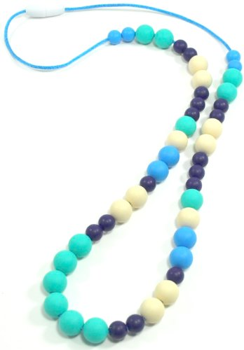 "Silli Me Jewels: ""Blue-Dazzled"" - 30"" Teething Nursing Necklace with a Mix of Blues, Turquoise, and Creamy White 9 and 12mm Beads for Baby to Chew - 1"