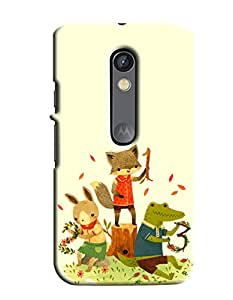 Blue Throat Three Animal Cat Rat And Frog Enjoying Printed Back Cover For Moto X Play