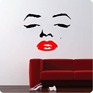 Marilyn Monroe Face Wall Decal Decor Quote Face Red Lips Large Nice Sticker by Value Decals