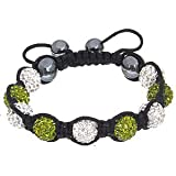 Everbling Nine Handmade Pave Clear and Green Swarovski Crystal Balls with Magnetite Beads Black Cord Macrame Shamballa Bracelet Reviews Picture