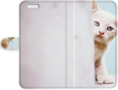 Cheap Best New Arrival iPhone SE/iPhone 5/5s Leather Case who's there? animal blue eyes cat kitten photo pic picture wall wallpaper white Leather Case Cover (Kitten Pics compare prices)