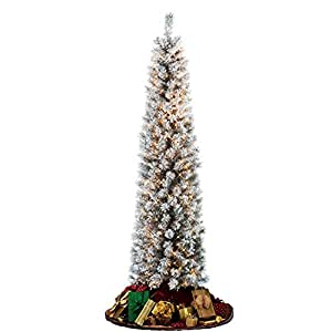 Flocked Pencil Slim Christmas Tree 7ft With