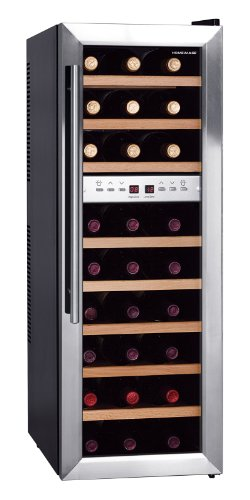 Chill and store your fine wines at the ideal temperature with the HOMEIMAGE 27 bottle dual zone thermo-electric wine cooler. Fea