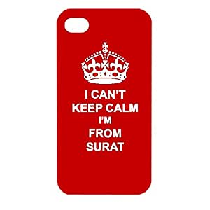 Skin4gadgets I CAN'T KEEP CALM I'm FROM SURAT - Colour - Red Phone Designer CASE for APPLE IPHONE 4