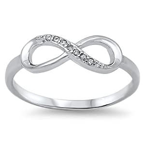 Half Infinity Love Friendship 925 Silver Forever Ring Band (6)