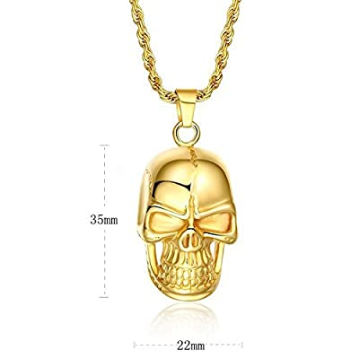 AnaZoz Jewelry Luxury 18k gold filled skull pendant men stainless steel golden necklace chain by AnaZoz
