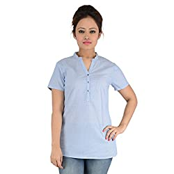 EIMOIE Women's Striped Casual Top (Blue)