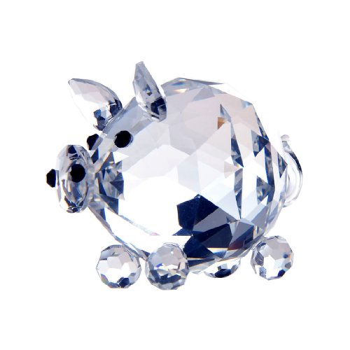 H&D Fat Pig Figurine Collection Cut Glass Ornament Statue Animal Collectible