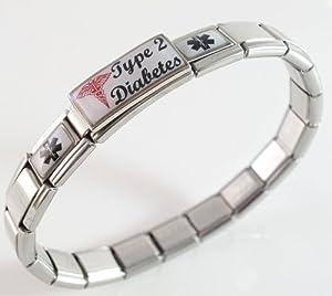 Type 2 Diabetes Medical ID Alert Italian Charm Bracelet with Red Caduceus Script Diabetic
