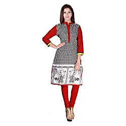 FACTORYWALA Womens Cotton Straight Kurti (001_Red_Small)