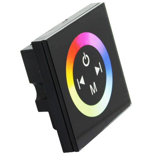 Torchstar Touch Panel Led Rgb Controller W/ Rainbow Color Ring Dc12V-24V 12A/3 Channels-Black Version Tr08