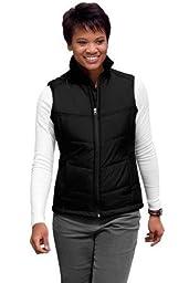 Port Authority Ladies Polyester Shell Puffy Zipper Vest, black/black, XX-Large
