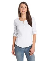 Alternative Women\'s Rolled Sleeve Henley, White, Large