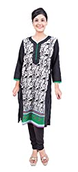 Krivi By Kk Women's Cotton Kurti (KRV-19-C_Black_L)
