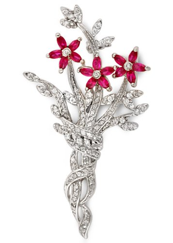 Marquise C.Z. Ruby Diamond Flower Bouquet Sterling Silver Pin (Nice Holiday Gift, Special Black Firday Sale)